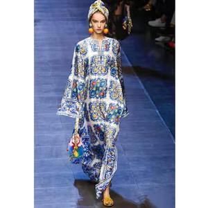 보헤미안 해변은 부드러운면 이브닝 드레스 스커트 긴 느슨한 파란색과 흰색 도자기 컬러 패션 캐주얼 여자 치마