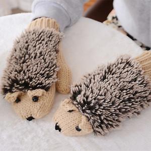 Gloves 3 Colors Girls Novelty Cartoon Winter Gloves Women Knit Warm Fitness Hedgehog Heated Villus Wrist Mittens Guantes!