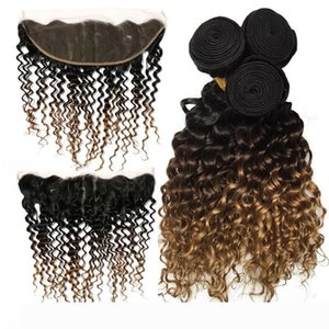 Brazilian Ombre Deep Wave Bundles with 13*4 Lace Frontal Ear to Ear 100% Remy Human Hair Weaves Ombre Bundles 1b 4 27 Color