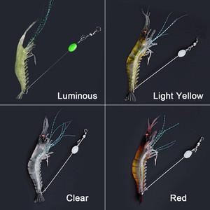 90mm caliente 7 g suave Simulación camarón de la gamba Pesca Señuelos flotante formada camarón Señuelo Gancho Cebo artificial con gancho biónico 10pcs