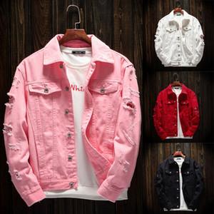 Мужская повседневная Джинсовая куртка с длинными рукавами розовый джинсовой куртки осень зима отложной воротник пальто мода 7,29