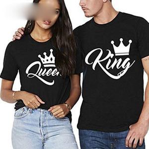 Progettista delle donne supera le donne Designer Re Regina Coppie Crown Abbigliamento Flutter estate del manicotto T shirt 2019 casual O Collo Lovers Tee