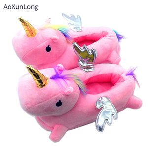 AoXunLong femmes hiver chaud licorne Chaussons mignon avec des ailes Unicorn Pantoufles Pink House Floor chaussons UE 35-41 One