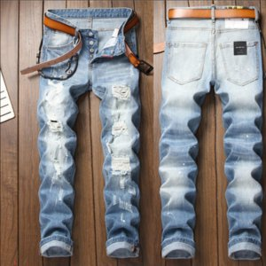 Jeans Fashion Patches Hole Washed Embroidery Bleached Pants White Distrressed Zipper Denim Pants LR191225
