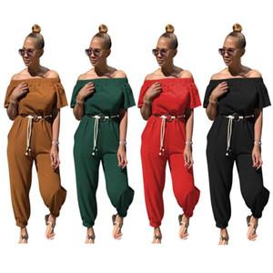 Zatna Solid Color Quick-drying Cloth Shoulder Jumpsuit With Belt Women Casual 2 pcs set Short T Shirt&Pants Sports Suit Romper