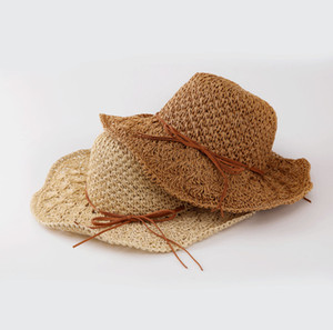 Mommy and daughter matching hat Girls hollow crochet petals hem hats children lace-up Bows grass braid crochet floppy sun cap F9498