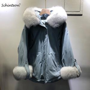 후드 한국형 느슨한 코트 패션 모피 큰 리얼 폭스 Schinteon 칼라 다운 재킷 겨울 따뜻한 착실히 보내다 새로운 T191030을 포켓