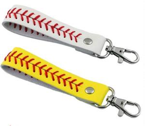Tout le sport Seared Lace Leather Key Chain Herringbone Softball Baseball Rapide Pas De Baseball Stitch Porte-clés Sac Accessoires 5 pcs vente chaude
