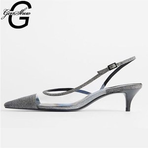 GENSHUO Transparent Crystal Ladies Shoes Comfortable Rubber Sandals Women Outdoor Buckle Sandalen Slingback Summer Shoes Woman