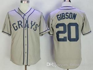 20 Josh Gibson Jersey Homestead Grau Negro League Film Baseball Jersey Männer Grau Schnelles Freies Verschiffen