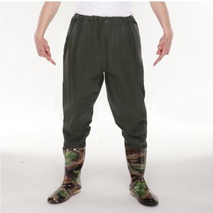 Men Womens Half Body Waterproof Breathable Fishing Pants With Rain Shoes Outdoor Hunting Catch Fish Thicken PVC Hunting Wear Athletic & Outd