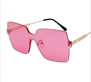 New fashion frameless sunglasses marine film sunglasses metal large frame glasses