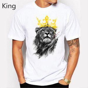 Fashion Men 's Lastest Мода с коротким рукавом полиэстер King Of Lion Печатный футболка Забавные футболки Hipster O -Neck Cool Tops Hot