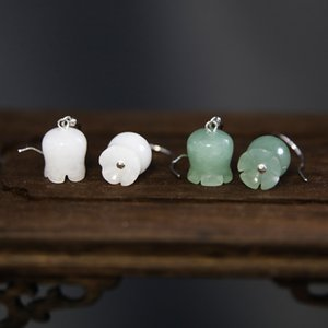 "qR8cN \ Valley eardrop kısa mizaç Milli Jad ait S925 gümüş doğal Dongling Eardrop Beyaz Beyaz Jade Lily ""Vadisi \ Lily"""