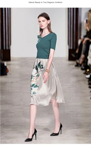 2020 Summer New Women elegant knit sweater green slim pullovers Top + A-line floral print skirts suit female two piece set CX200702