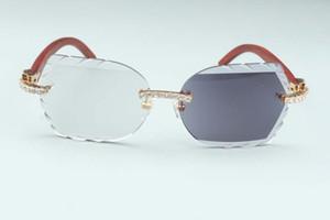 Nouveau de haute qualité sculpté changement de couleur lentille 8300817-C6 De Luxe Naturel En Bois Temple diamant lunettes cadre 58-18-140mm un miroir à double usage