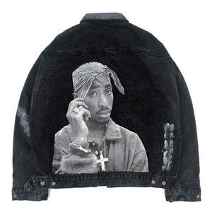 Streetwear Denim Jean Jacket Coat Men 2pc Rock Rapper Patchwork Tie Dye HipHop Windbreaker Motorcycle Cowboy Casual Denim Jacket
