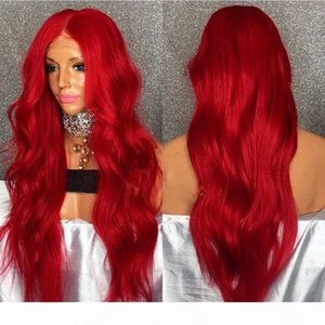 L Sexy Pastel Color Lace Front Wig Long Natural Wavy Red Hair Hot Popular Cosplay Party Wig Synthetic Heat Resistant Fiber Hair