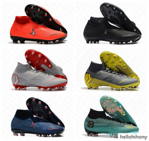 Mens AG Cleats Victory Pack Mercurial Superfly VI 360 Elite Superfly 6 Outdoor High Ankle Soccer Shoes CR7 Mercurials Football Boots Cleat