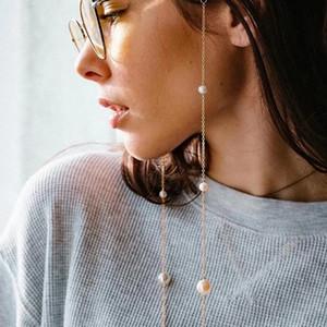 Occhiali catena bianca catena di fascino perla O colore oro argento plastica placcato silicone loop sunglass accessorio
