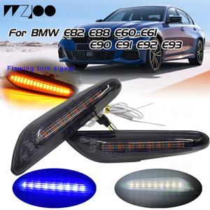 2019 새로운 연기 렌즈 동적 BMW E60 E61 E90 E91 E81 E82 E88 E46의 X3의 X1을위한 신호 사이드 마커 라이트 깜박이 램프를 켜고 LED 흐르는