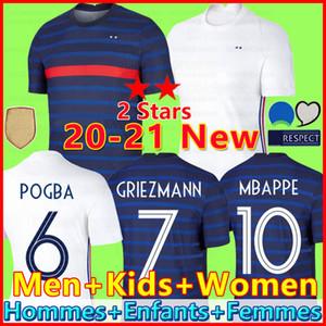 2020 jérsei de futebol Kante Pogba Maillots de camisa de futebol 2018 mundo copo jérsei 100º 100 anos homens + crianças uniformes kit maillot de pé 2021
