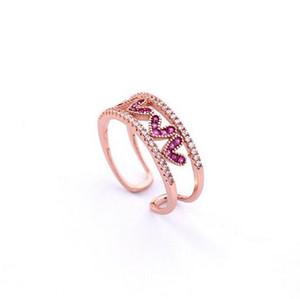 MENGJIQIAO 2018 Новый Корейский Цирконий Влюбленное Сердце Двойной Слой Открытые Кольца Для Женщин Нежная Мода Micro Paved Finger Ring