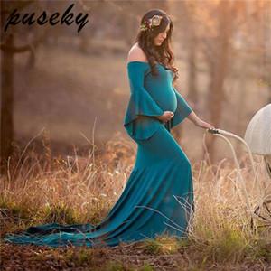 Puseky 새로운 사진 소품 맥시 드레스 공주 출산 팬시 사진 임신 드레스 Y190522 촬영