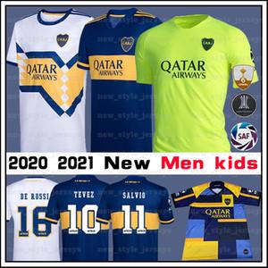 2020 21 Boca Juniors Jersey DE ROSSI SALVIO TEVEZ ALEXLS Homens crianças camiseta de futebol BENEDETTO ALMENDRA Casa longe de Futebol Jersey