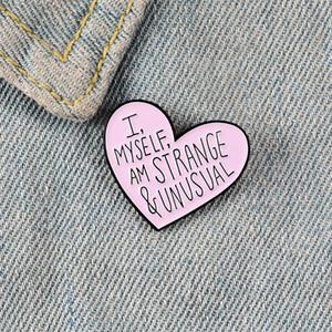 Rosa broches pin coração de esmalte para as mulheres estranhas roupas pinos dos desenhos animados badge incomum lapela mochila presente jóias da moda para o amigo