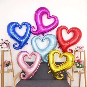 """18"""" forma de gancho del corazón matrimonio habitación hoja hincha partido de la decoración de la boda del globo del amor de los impulsos de aluminio de 7 colores 50pcs"""