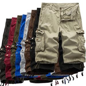 Mens Shorts DHgate carga Shorts Cores sólidas Casual calças de carga com bolsos Atlético calças curtas Masculino Praia Outdoor Board