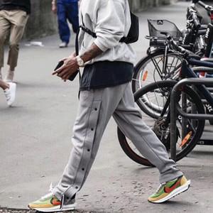 19FW Европейский FFOG серый стороны пряжки Sweatpant спорта вскользь Негабаритные Hip Hop-Брюки мужские высокого качества конструктора Брюки HFYYKZ002