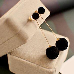 Korean edition Hair Ball Dangle Earring For Women Cute White Pompom Earring Girl Nice Gifts atmosphere earrings