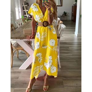 Frauen 19SS tiefe V-Ansatz Blumenkleid Sommer-Strand-beiläufige Maxi Holiday Beach Kleider
