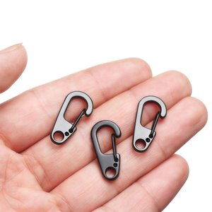 4 PCs Outdoor Mini Aluminium Alloy Hang Buckle Survival EDC Gear D Carabiner D-Ring Key Chain Spring Clips Camping Keyring