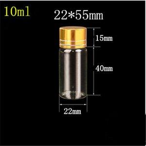 100 Stück 22x55 mm 10 ml Glasfläschchen mit goldenen Schrauben Plastikkappe Transparent Ätherisches Öl Spice Glasphiolen
