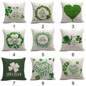 Moda Yeşil Lucky Çim Çift taraflı Desenler Yastık Kılıfı Keten Baskılı Yastık Kılıfı Aziz Patrick Günü