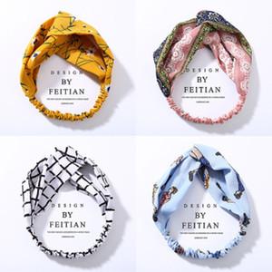Plaid di modo Knot fascia del fiore banda capelli della fascia elastica Hairband dell'involucro della testa accessori capelli per le donne Ragazze Copricapo gioielli e accessori