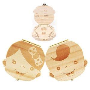 الإنجليزية الإسبانية الفرنسية الأسنان صندوق للطفل حفظ الحليب الأسنان بنين / بنات صورة خشب صناديق التخزين هدية الإبداعية للأطفال السفر كيت 2 أنماط