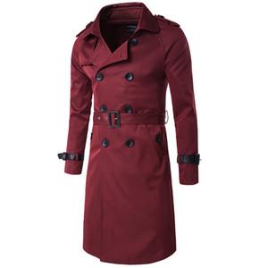 Zweireiher Herren Trench Coats Verstellbare Taille und Epaulet Homme Kleidung England-Art-dünne lange Mäntel