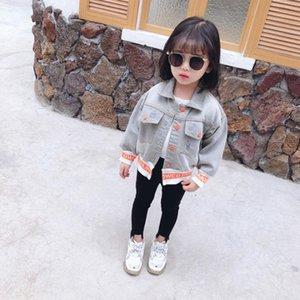 DFXD Baby Girls джинсовая куртка Весна Детская одежда с длинным рукавом однобортный принт дети джинсовое пальто мода верхняя одежда 1-7 Т новый