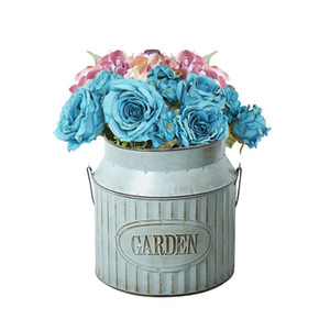 Estilo Rural Vintage Handle Ferro Flower Garden gasto vaso Pot suculentas plantas Bucket Planter Decor Flower Pot CJ191226