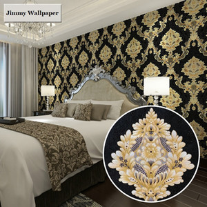 New High Grade Black Gold Luxury Embossed Texture 3D Damask wallpaper for wall Roll washable Vinyl PVC Wall Paper