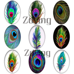 Zdying Wholesale 18*25mm Oval Shape Glass Cabochon Peacock Feather Dome Beads DIY Jewelry Making Findings 10pcs lot