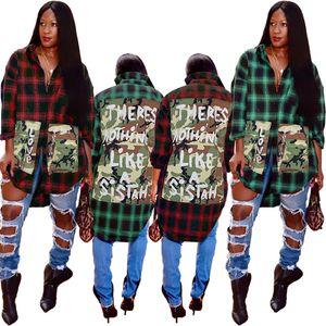 Women plaid Blouses Shirts summer fall clothes Cardigan sexy club camouflage coat letter asymmetrical sweatshirt outerwear fashion gym 0204