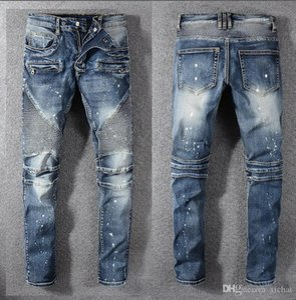 Mens Fold Skinny Jeans Designer Painted Mode lavé plissés lambrissé Zipper Slim Fit Motard Hip Hop Denim Pants 1077