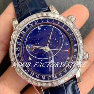 Роскошные Супер Фабрика 44MM 9015 Модифицированный Cal.240 LU CL C Автоматическое движение звезды Циферблат Сапфировое стекло Синий кожаный ремешок Мужские часы Часы