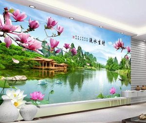 Fondo de pantalla personalizado 3D Estereoscópico Agua corriente y riqueza pintura paisaje TV fondo wal Arte Mural de pared Sala de estar Dormitorio Fondo de pantalla
