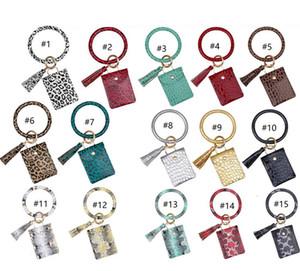Kadınlar Bileklik Wristlets Cüzdan Coin Çantalar Püsküller Anahtarlık Kart Sahibi Çanta Moda Leopard PU Deri Bilezikler Hayvan Çanta E22909 yazdır